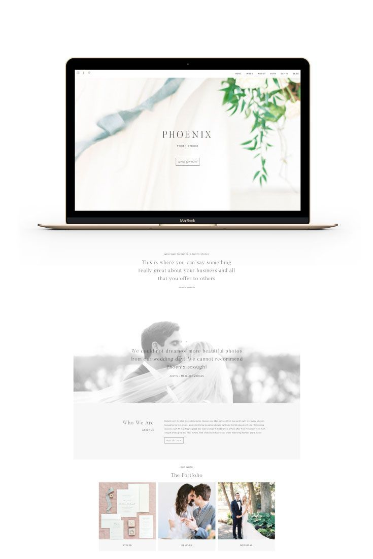 Phoenix Is An Easy To Customize Website Template For Prophoto 7 Designed By Swoone This Websit Custom Website Design Feminine Website Design Custom Web Design