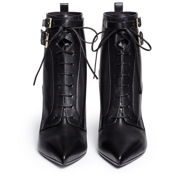 Sergio Rossi Elastic lace-up leather ankle boots ($730) ❤ liked on Polyvore featuring shoes, boots, ankle booties, short lace up boots, leather lace up boots, pointed toe booties, lace up bootie and leather booties