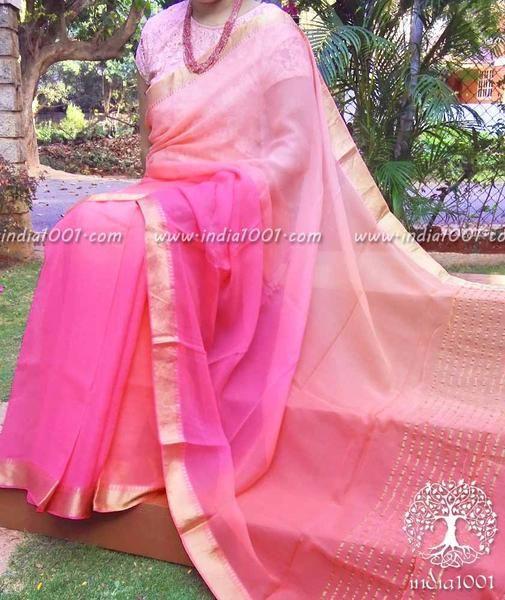 Designer Chiffon Saree with Multi Hue Finish & Zari border