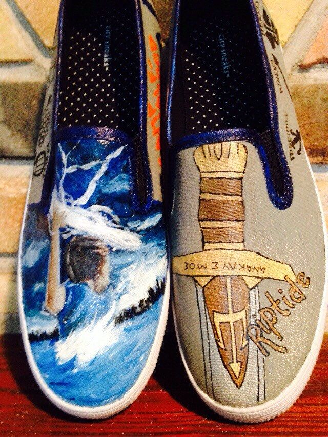 Percy Jackson Custom Painted Shoes - pinned by pin4etsy.com