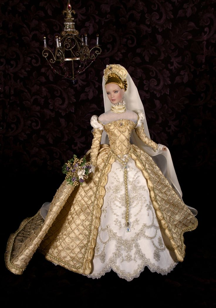 A beautiful renaissance theme doll wedding dress