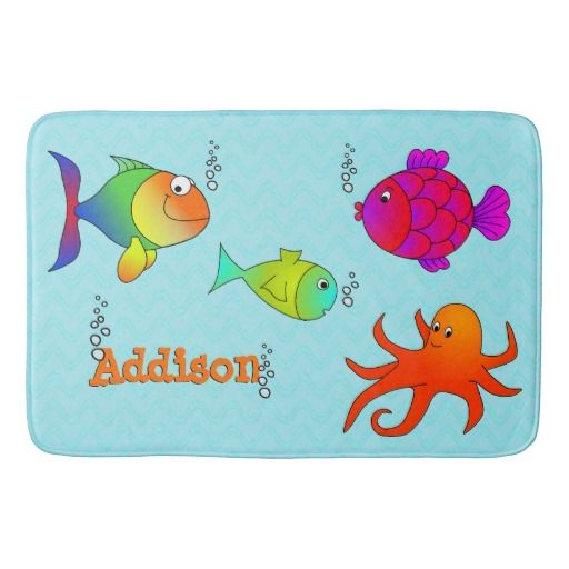 Cute and Friendly Sea Creatures Kids Bath Mat a great idea for a kids bathroom. This bath mat makes a thoughtful gift and can be paired with a matching soap dispenser and toothbrush holder.