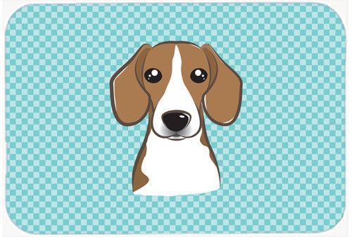Checkerboard Blue Beagle Mouse Pad, Hot Pad or Trivet BB1177MP
