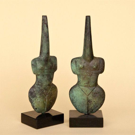 Greek Statue Abstract Female Figurine Metal by GreekMythos on Etsy