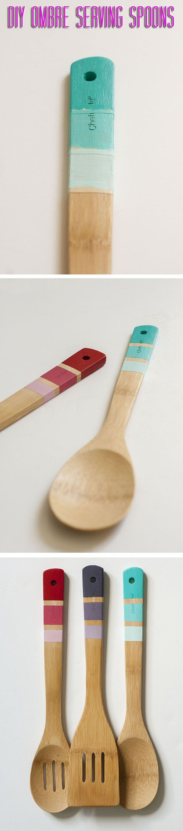 Perfect summer hostess gift. #DIY ombre serving spoons for the win!