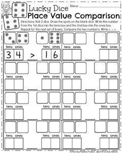First Grade Math Worksheets for March - Lucky Dice Place Value Comparison