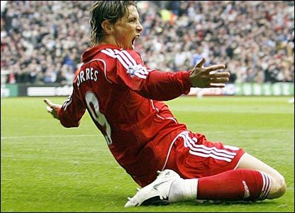 Fernando Torres, Liverpool v West Ham United 5th March 2008.