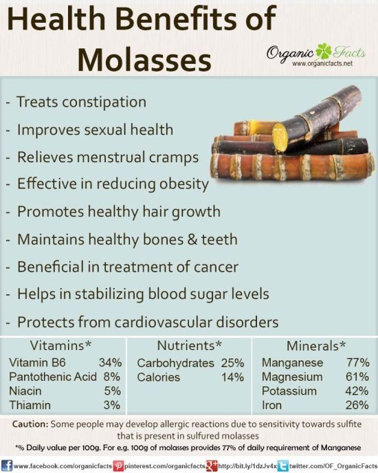 Health benefits of Molasses.  NOTE: Like any sugar, it's probably wise to consume in small amounts.