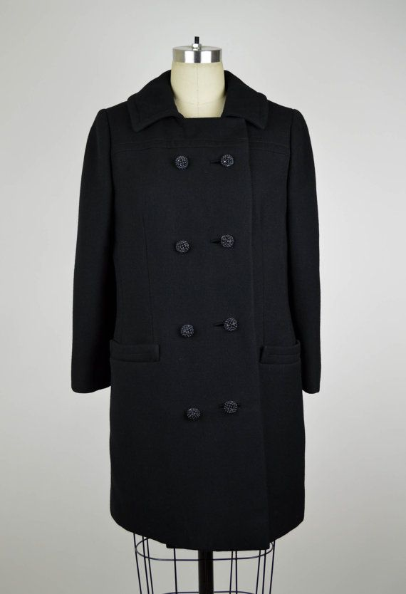 VINTAGE 1960s '60s Mad Men Black Wool Peacoat Beaded Button