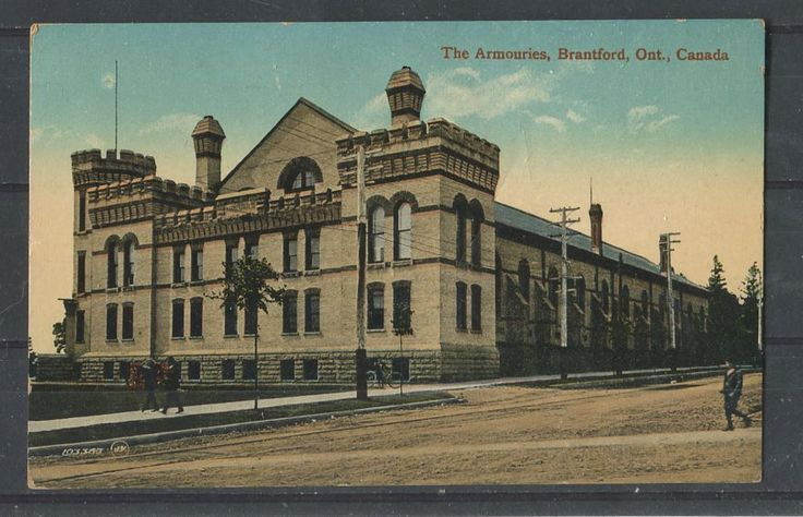 1917 postcard depicting the armories at Brantford. This building still looks pretty much the same today.