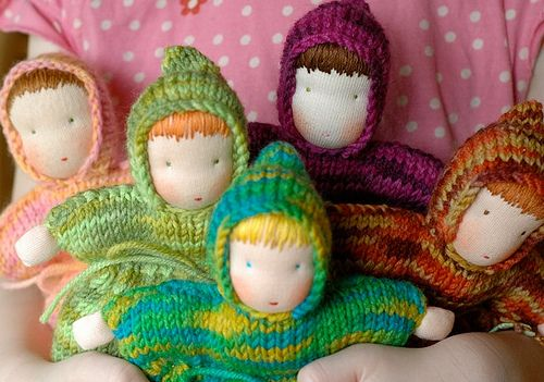 knitted Steiner dolls