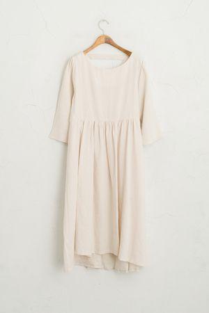 Back V Neckline Dress, Beige