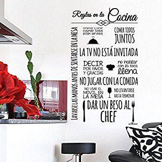 Vinilos cocina Normas Cocina. 60X100 cm. Texto en color NEGRO.