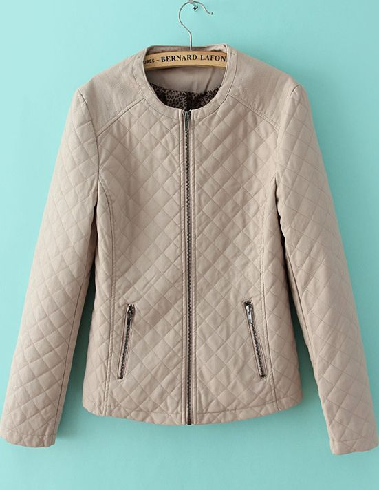 Nude Round Neck Quality Quilted PU Leather Jacket 34.07