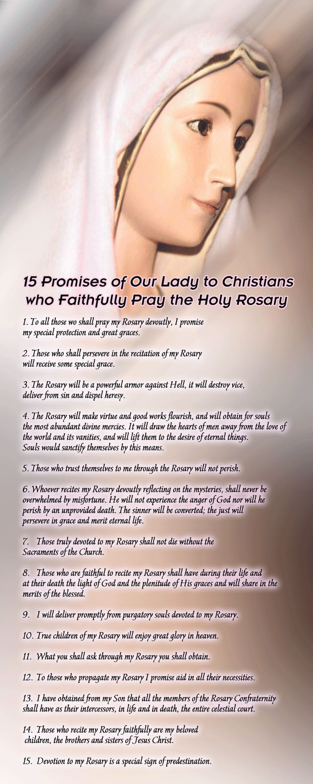 Holy Weapons Against Evil | The 15 Promises of Our Lady to Christians who Pray the Rosary