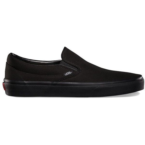 Vans Slip-On (160 BRL) ❤ liked on Polyvore featuring shoes, sneakers, black, canvas slip on shoes, black trainers, black sneakers, black slip-on shoes and black slip-on sneakers