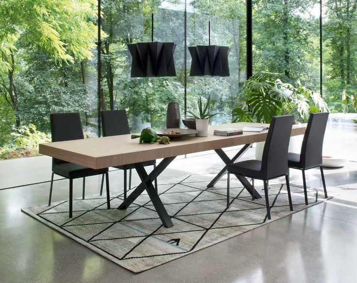 Calligaris | Axel Dining Table | Available in graphite or walnut with either chrome or matt grey legs | Extending version also available.