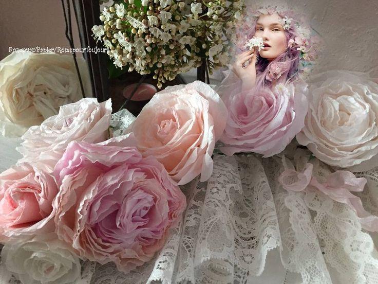 guirlande van rozen, shabby vintage rozen van papier