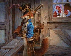 """The Fox Guarding the Henhouse by Scott Gustafson SMALLWORK CANVAS EDITION Image size: 11""""w x 9""""h. Limited Edition of: 100 $185.00 issue price for $150."""