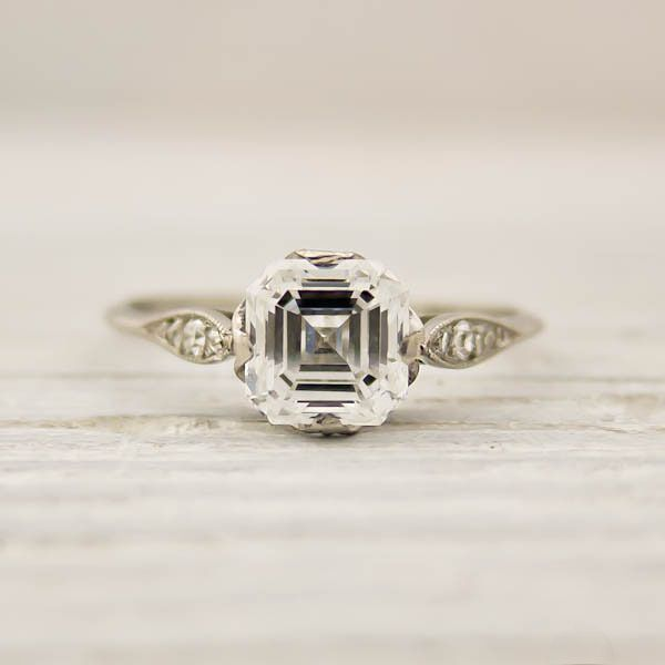 Vintage Asscher Cut Diamond Engagement Ring By Tiffany And Co