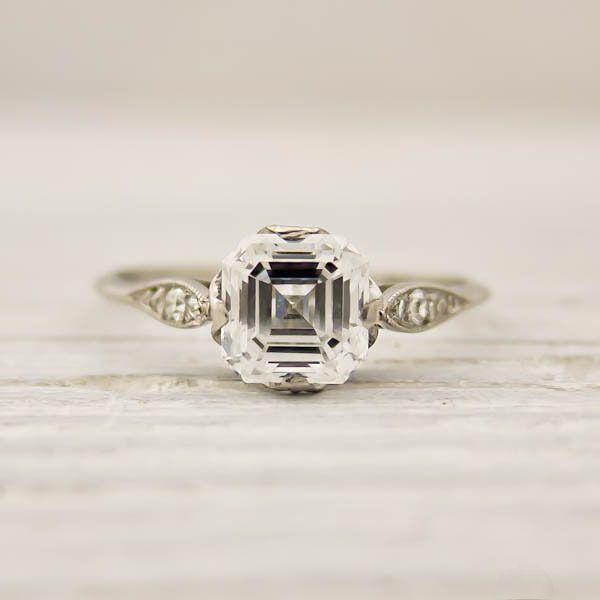 from Erstwhile Jewelry Co 1 01 Carat Asscher Cut Diamond Engagement Ring b
