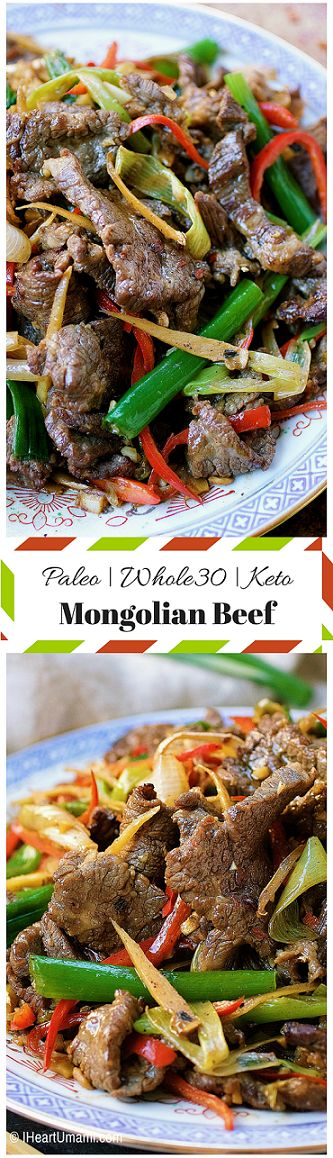 Paleo Mongolian Beef. Paleo beef with scallions and ginger stir-fry. Whole30 Mongolian Beef. Keto Mongolian beef. IheartUmami.com