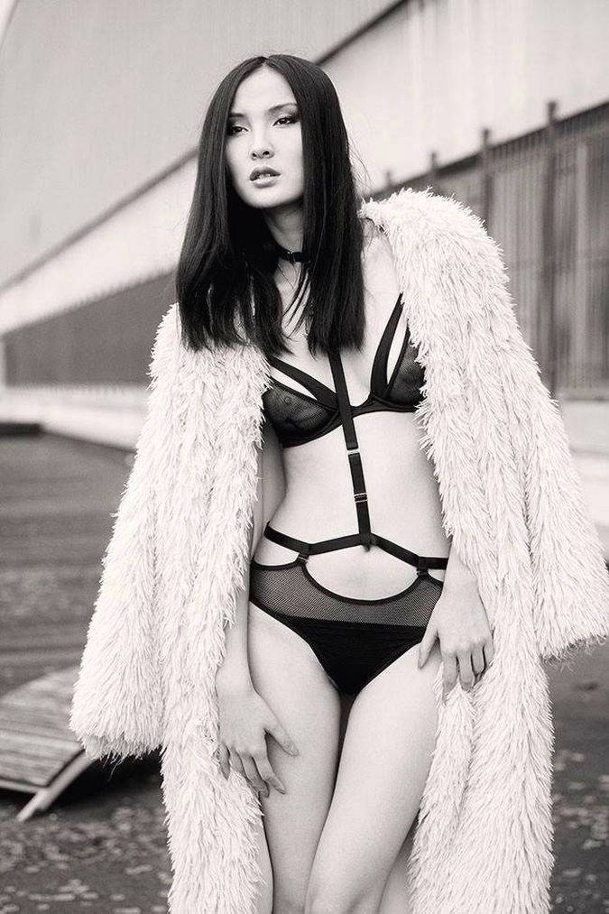 Tatu Couture fishnet bra & harness for Mise en Cage | Photo Martial Lenoir | Model Wandi