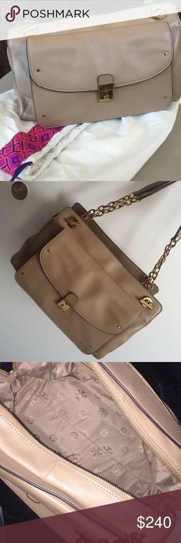TORY BURCH TAN/GOLD CHAIN PURSE AUTHENTIC. Purchased at south coast plaza in Southern California, Tory Burch boutique. Tory Burch tan and gold chain purse. Medium size. Very good condition. Used twice. Many pockets inside. Comes with Original tags and bag. Tory Burch Bags Shoulder Bags