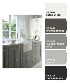 Gray paint samples - #LGLimitlessDesign & #Contest This image needs black counter tops and LG Black stainless appliances. Upper cabinets should be white.