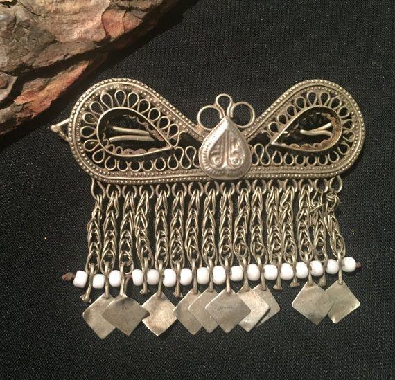Kuchi gioielli-capelli Clip-kochi capelli accessorio-nomadi Afghani gioielli bohemien Hari Clip-Vintage testa pezzo-fermaglio per capelli...