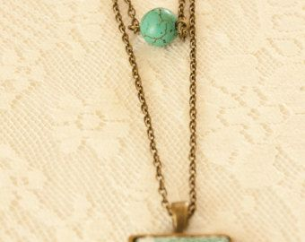 Lace Square Bronze Turquoise Layered Pendant with Turquoise Bead and Bronze Bow