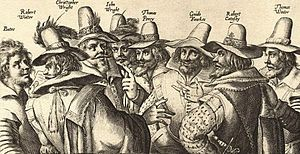 January 27, 1606: The trial of Guy Fawkes begins. With a small group of English Catholics, Fawkes had plotted to assassinate King James I by blowing up Parliament. Eight conspirators were tried and found guilty. The other 7 were hanged, drawn, and quartered, but Fawkes managed to jump from the gallows and break his neck, avoiding the worst of the punishment. Pictured are the 8 conspirators; Fawkes is third from the right.