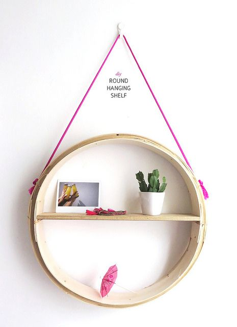 Make a simple round hanging shelf! ~ as a night stand?
