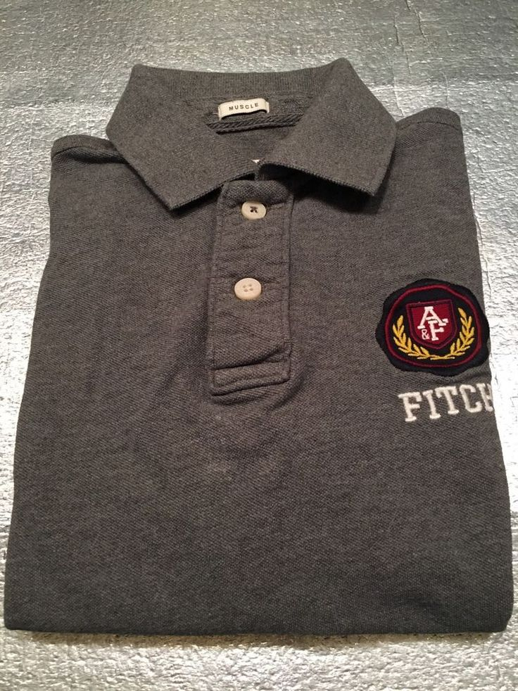 Men's ABERCROMBIE & FITCH Muscle Polo Golf Shirt - 100% Cotton - Gray - Size M #AbercrombieFitch #PoloRugby