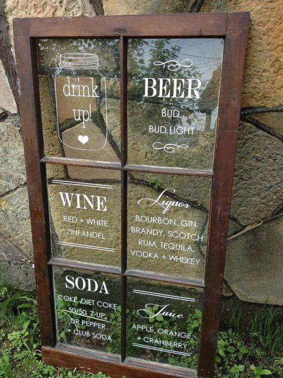 Bar Menu Window Sign by IDoSignDesigns on Etsy, $85.00