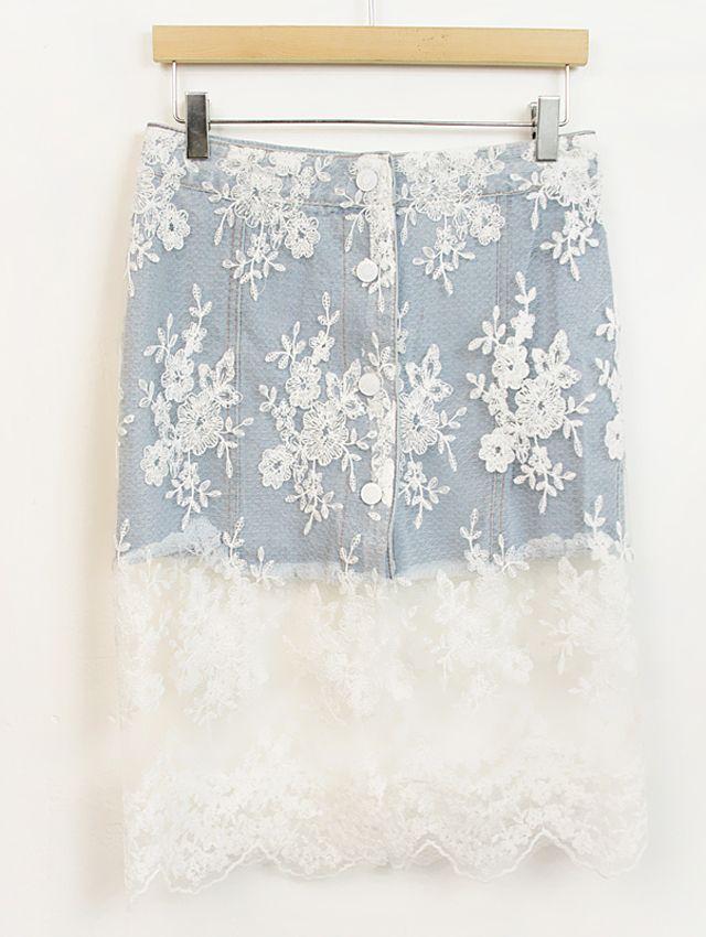 88ю Корейская версия сладкого кружевные юбки джинсовой юбки кружево юбка бюст юбки джинсовой юбки пакет бедра юбка - Taobao