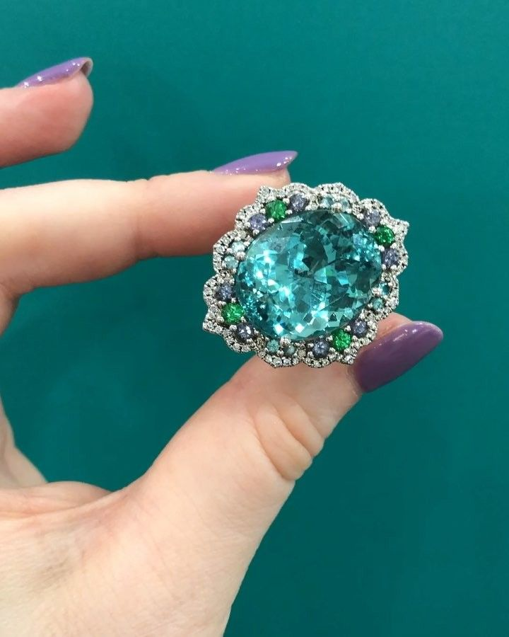 "985 Likes, 43 Comments - American Gem Trade Association (@agta_gems) on Instagram: ""@campbellian_collection calls this her mermaid ring! ‍♀️ gorgeous blue-green #tourmaline,…"""