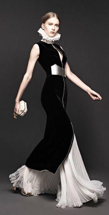 Alexander McQueen Black velvet dress and pleated white skirt. Gorgeous - sans neck ruff of course
