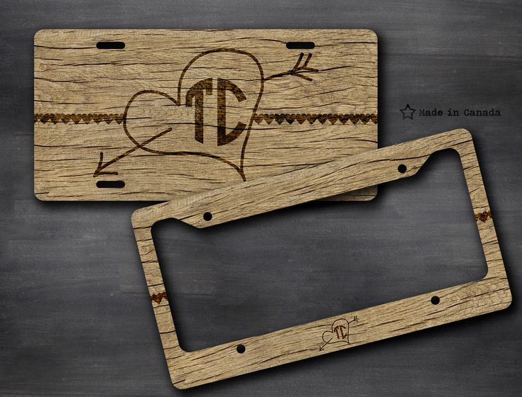 Rough Wood, Wood Pattern, Cute Vanity Car Tag, Bike Tag, License Plate Frame - monogrammed license plate, Wedding Car Accessory, Valentines by SaidTheOwl on Etsy