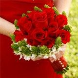 Flower source, wholesale  3 Bridesmaids Bouquets Red Roses and Star of Bethlehem (BDx10) [Include Flower Food]