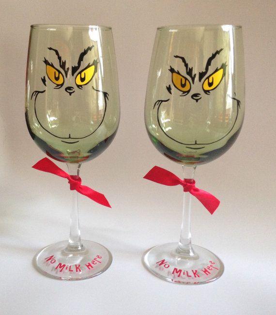 Set of 2 Grinch Green Hue Wine Glass/ No Milk by RosBelTreasures