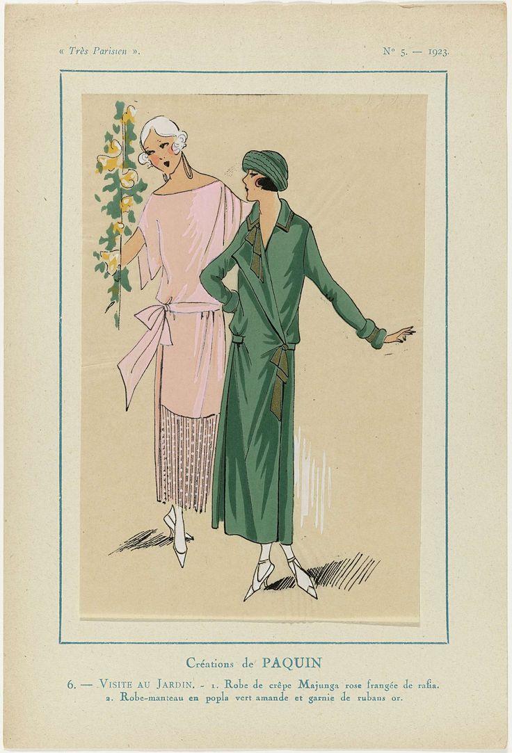 Anonymous | Très Parisien, 1923, No 5: 6. - VISITE AU JARDIN..., Anonymous, Jeanne Paquin, G-P. Joumard, 1923 | Ontwerpen van Paquin. 1. Jurk van roze crêpe Majunga met franjes van rafia. 2. 'Robe-manteau' (jasjurk) van amandelgroene 'popla' en gegarneerd met goudkleurige linten. Prent uit het modetijdschrift Très Parisien (1920-1936).