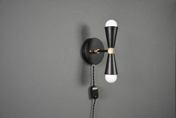 Plug In Vanity Light Gold Wall Sconce Mid Century Modern Industrial Wall Light Bathroom Vanity Layton Wall Sconces Industrial Wall Lights Plug In Wall Sconce