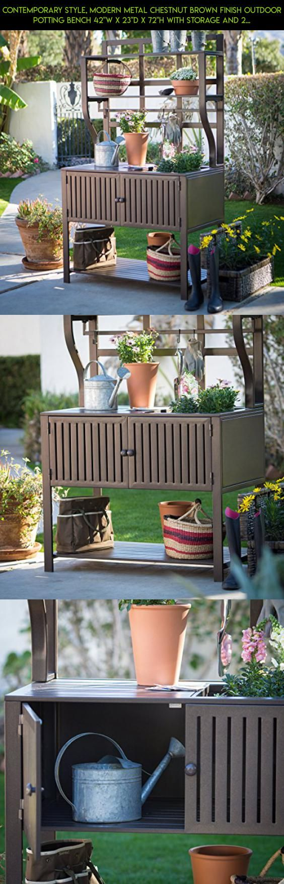 "Contemporary Style, Modern Metal Chestnut Brown Finish Outdoor Potting Bench 42""W x 23""D x 72""H With Storage and 2 Slatted Shelves, 7 Hooks for Hanging Gardening Tools #products #shopping #storage #drone #tech #plans #gadgets #fpv #technology #racing #42 #camera #parts #kit"