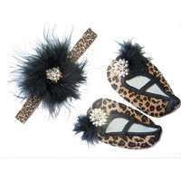 Leopard Print Feathered Headband with Booties