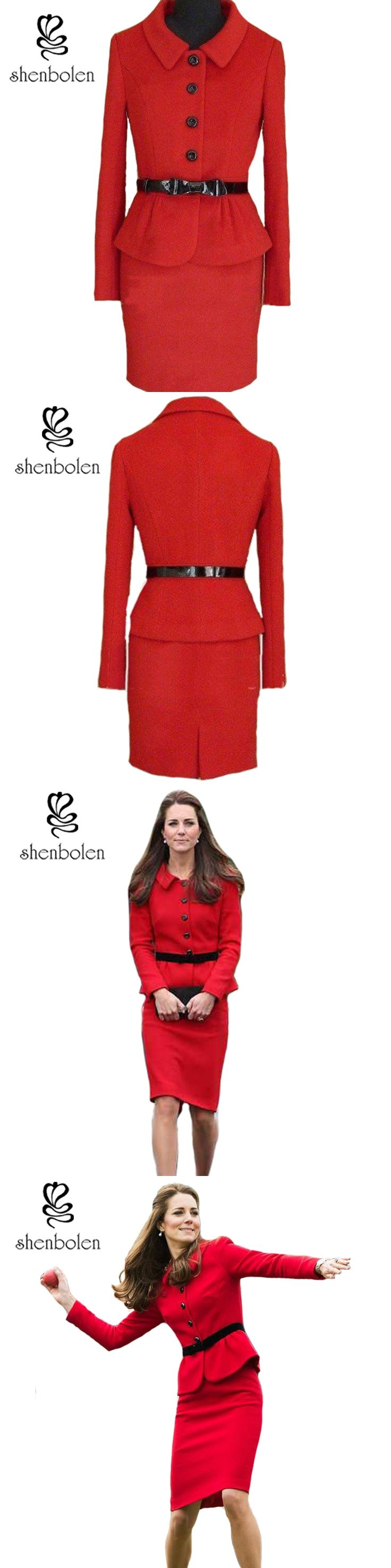Shenbolen 2017 Early Autumn Best selling Kate Middleton Red Slim Bride Suit Fashion Ladies Business Suit Women's Outwear