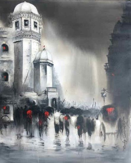 Dilip Chaudhury- Majestic Monsoons painting. Discover @Treniq