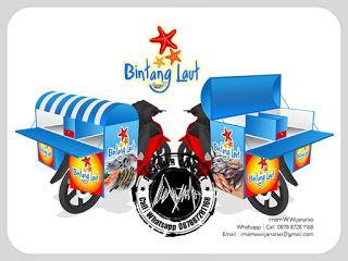 Desain Logo | Logo Kuliner |  Desain Gerobak | Jasa Desain dan Produksi Gerobak | Branding: Desain Gerobak Motor Bintang Laut