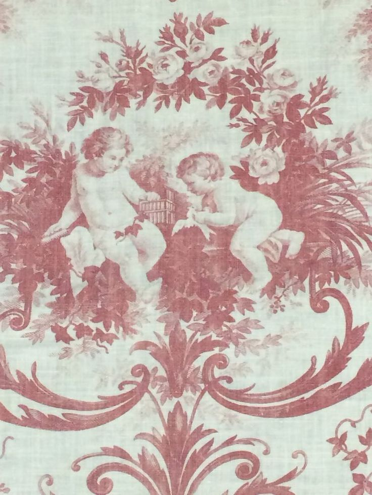 ANTIQUE 1800s FRENCH TOILE DE JOUY ROCOCO DOVE CHERUBS ROSE PRINT FABRIC VINTAGE