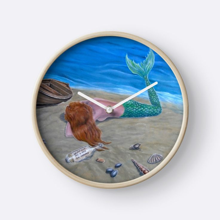 Wall Clock, artistic,decorative,items,fantasy,mermaid,aqua,blue,colorful,modern,beautiful,awesome,cool,home,office,wall,decoration,gifts,presents,ideas,for sale,redbubble
